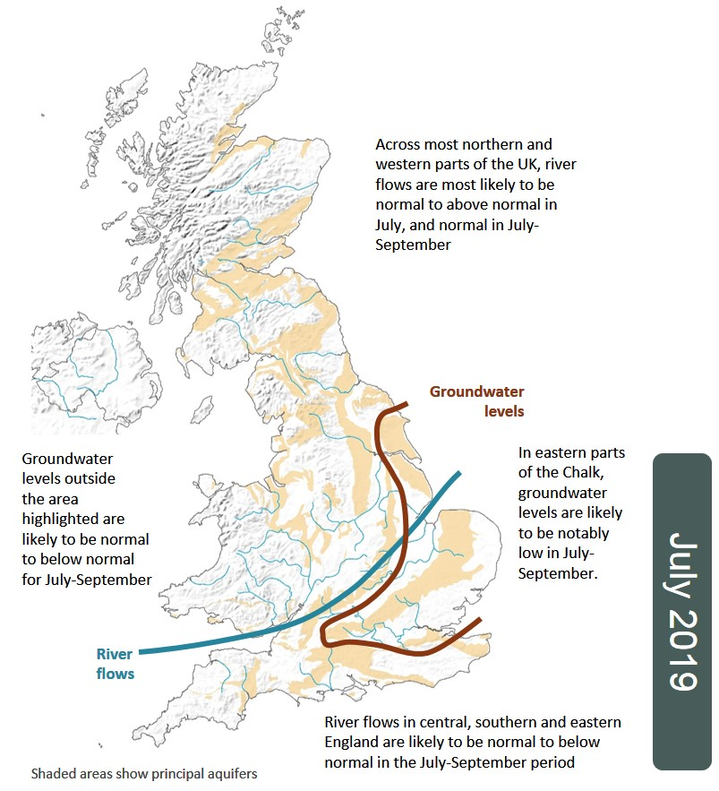 July Hydrological Outlook summary map