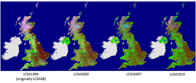 Images of the four Land Cover maps produced by CEH