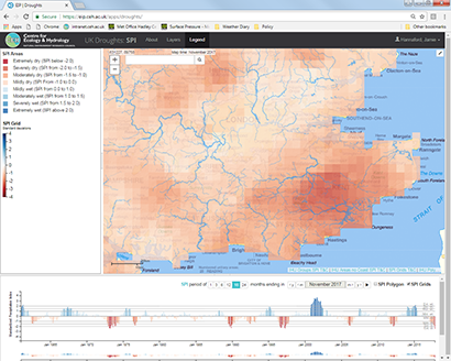 Drought Portal showing 18-month rainfall for a 5km grid in southeast England (time series shows a grid point in southern Kent)