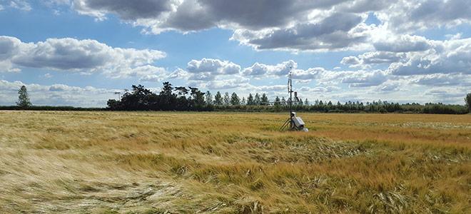 Scientific measuring equipment in a field