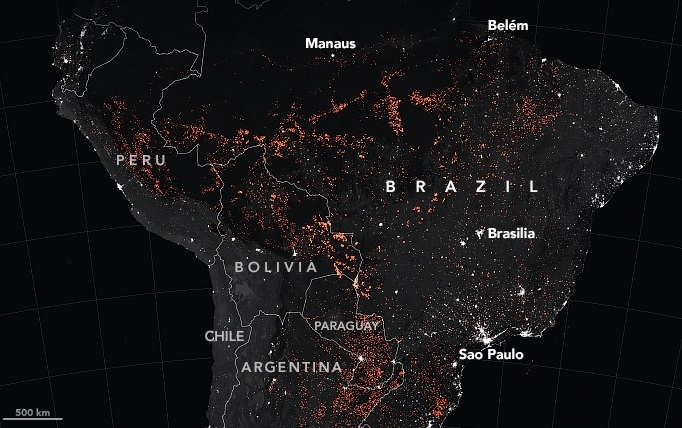 NASA satellite image of Amazon fires in August 2019