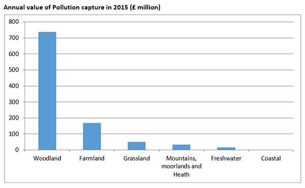Annual value of pollution capture by nature in 2015