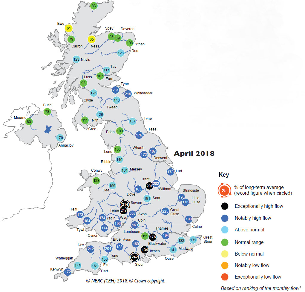 Map showing river flows in UK hydrological summary of April 2018