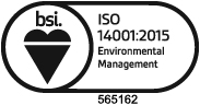 BSI Assurance Mark ISO14001: 2015 certfificate number 565162