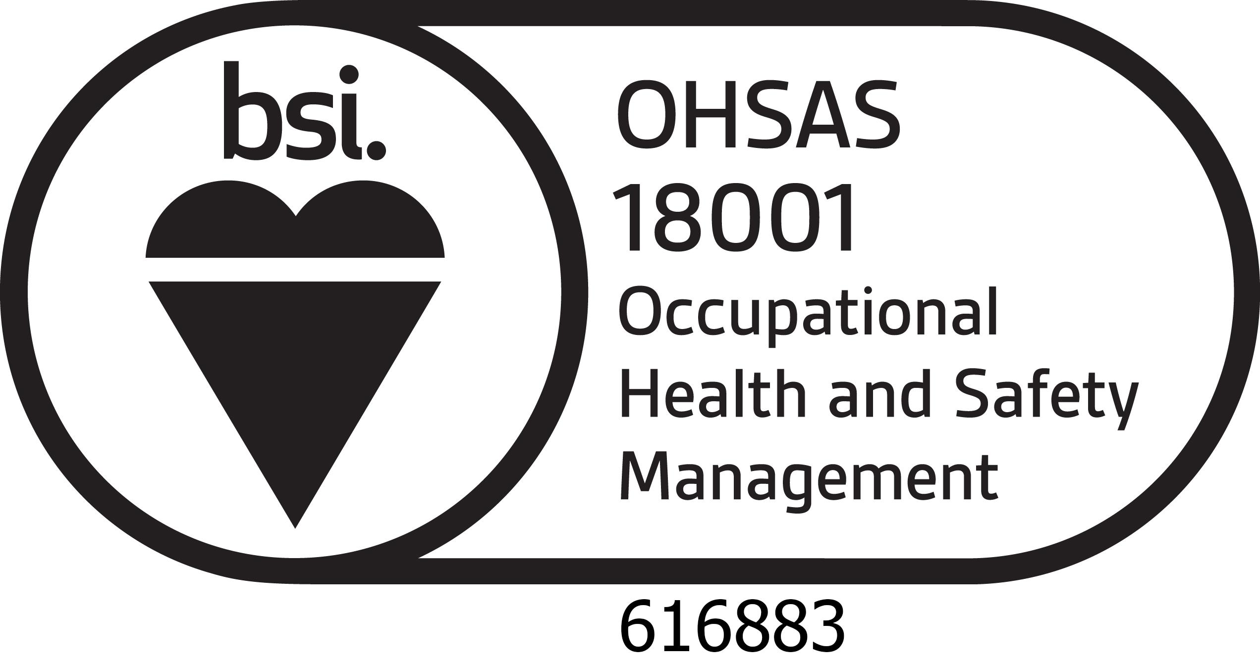 BSI Assurance Mark OHS18001 certificate-no