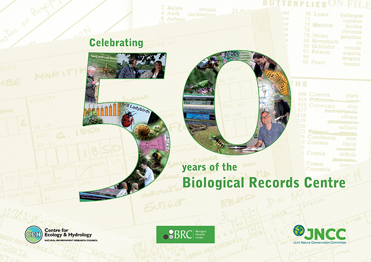 The cover of BRC's 50 anniversary year cover - the number 50 with the CEH, BRC and JNCC logos surrounding it