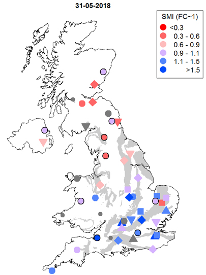 UK map indicating soil moisture status at COSMOS stations on 31 May 2018