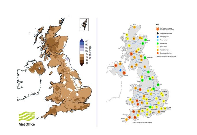 From March's Hydrological Summary, showing rainfall (left) and river flows (right) for the winter half-year (October – March)