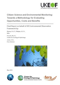 Cover of report entitled Citizen Science and Environmental Monitoring: Towards a Methodology for Evaluating Opportunities, Costs and Benefits
