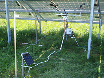 Equipment investigating effects of solar farm on local environment