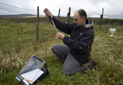 Dr Andy Sier of CEH taking measurements at an ECN terrestrial site
