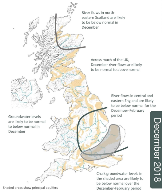 December 2018 UK Hydrological Outlook summary map