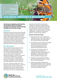 Ecological Process and Resilience Science Area Summary front cover