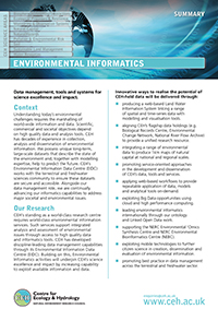 Environmental Informatics Science Area Summary cover