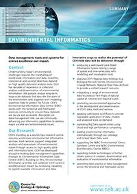 Environmental Informatics Science Area Summary cover