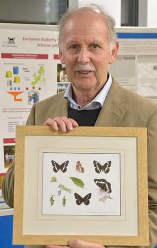 Ernie Pollard was presented with a butterfly print at the UKBMS 40th anniversary symposium