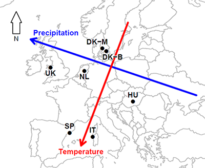 Map showing European climate change manipulation network
