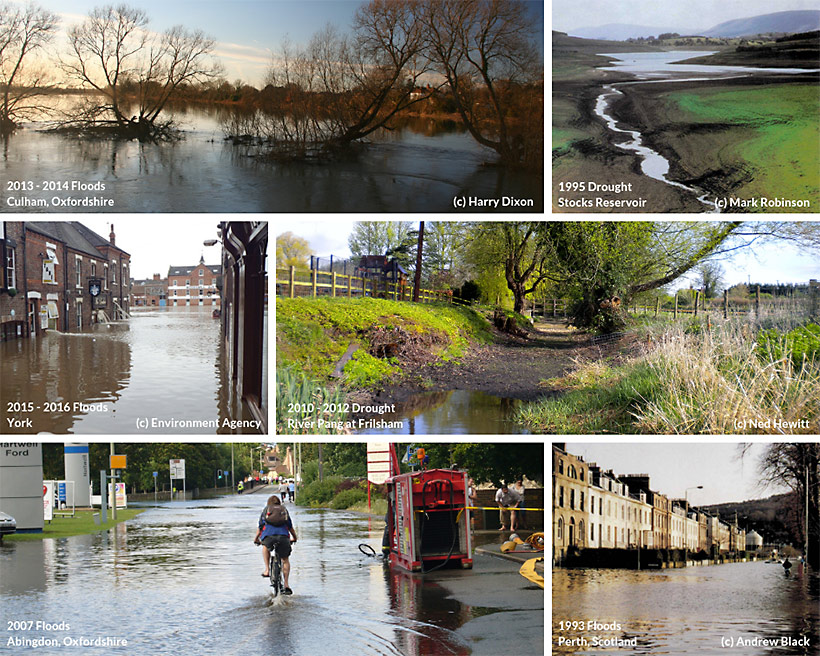 Collage of flood and drought images from around UK
