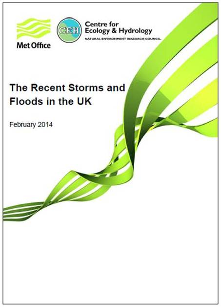 Cover of the Met Office and CEH report on The Recent Storms and Floods in the UK