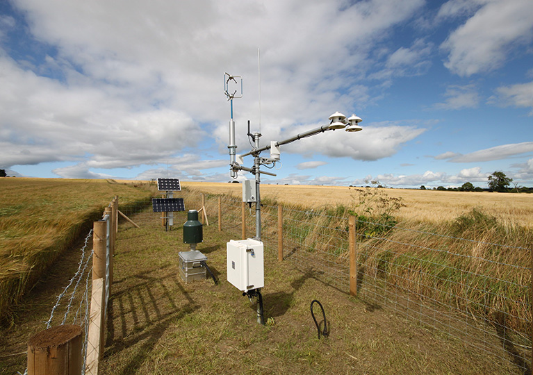 A COSMOS-UK soil moisture monitoring station in a field