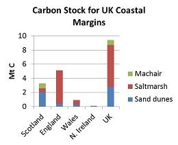 Graph of Carbon Stock for UK Coastal Margins