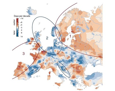 Observed trends of river flood timing in Europe, 1960–2010.