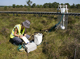 Monitoring emissions at CEH's Whim Bog field site. Photo – Heater Lowther, CEH
