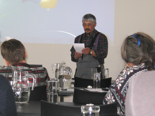 A local fisherman and hunter addressed project members (Photo by Andy Sier)