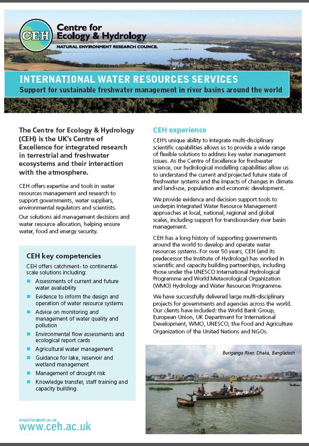 Front page of the International Water Resources Services leaflet