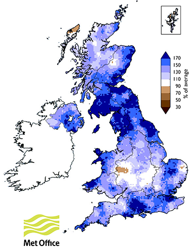 June-July 2017 rainfall totals in UK as percent of long-term average