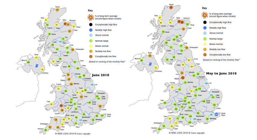 Maps showing average river flows for June 2018 and May-June 2018