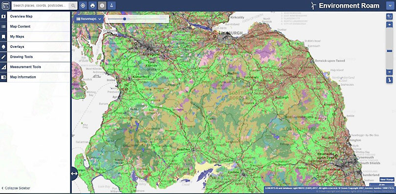 Screengrab from Environment Digimap service showing CEH's LCM2015 dataset