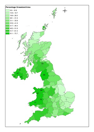 Map showing UK's grassland areas