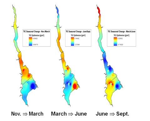 Seasonal changes in epilimnetic inorganic carbon in Loch Lomond, 2004-5