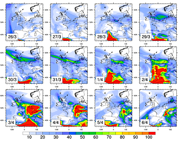 EMEP4UK modelled daily-mean surface concentrations of PM10 for period 26th March 2014 (EP1) to 6 April 2014 (EP2)