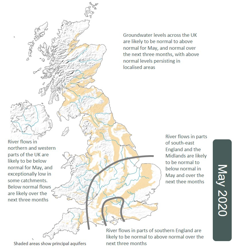 Map showing UK hydrological outlook in May 2020