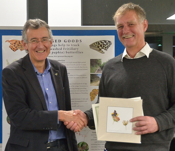 Martin Warren presents Mike Slater with a butterfly print at the UKBMS 40th anniversary symposium