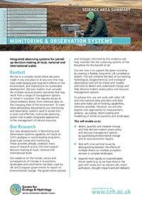 Monitoring & Observation Systems Science Area Summary front cover
