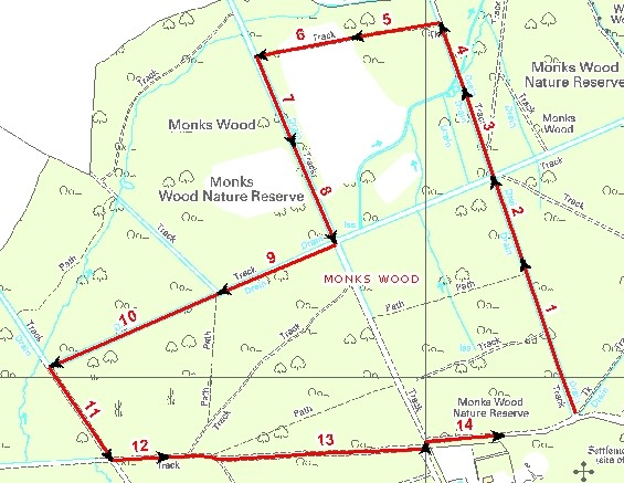Map showing Monks Wood transect