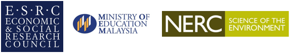 NERC, Ministry of Education Malaysia and ESRC Logos