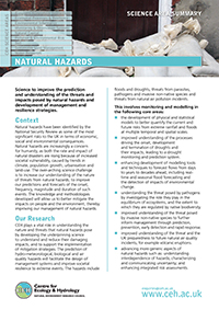 Natural Hazards Science Area Summary front cover
