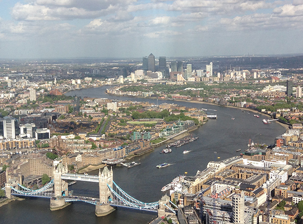 River Thames in London photographed from the Shard