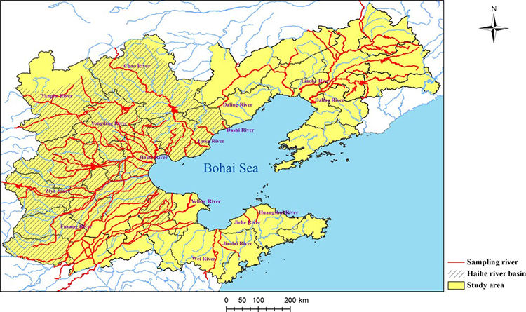 Map showing distribution of rivers in the Bohai coastal region of China