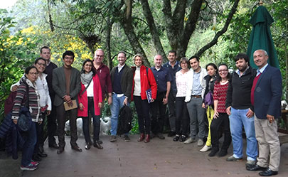 Group of researchers standing by a tree