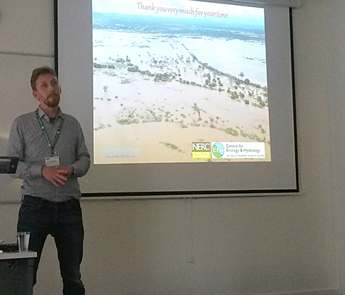 Dr Toby Marthews, a land surface modeller at CEH, speaks at the High Impact Weather conference