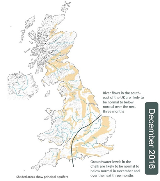 UK hydrological outlook for December 2016