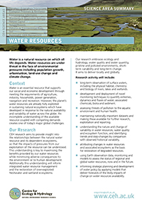 Water Resources Science Area Summary front cover