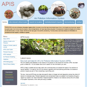 APIS homepage screenshot
