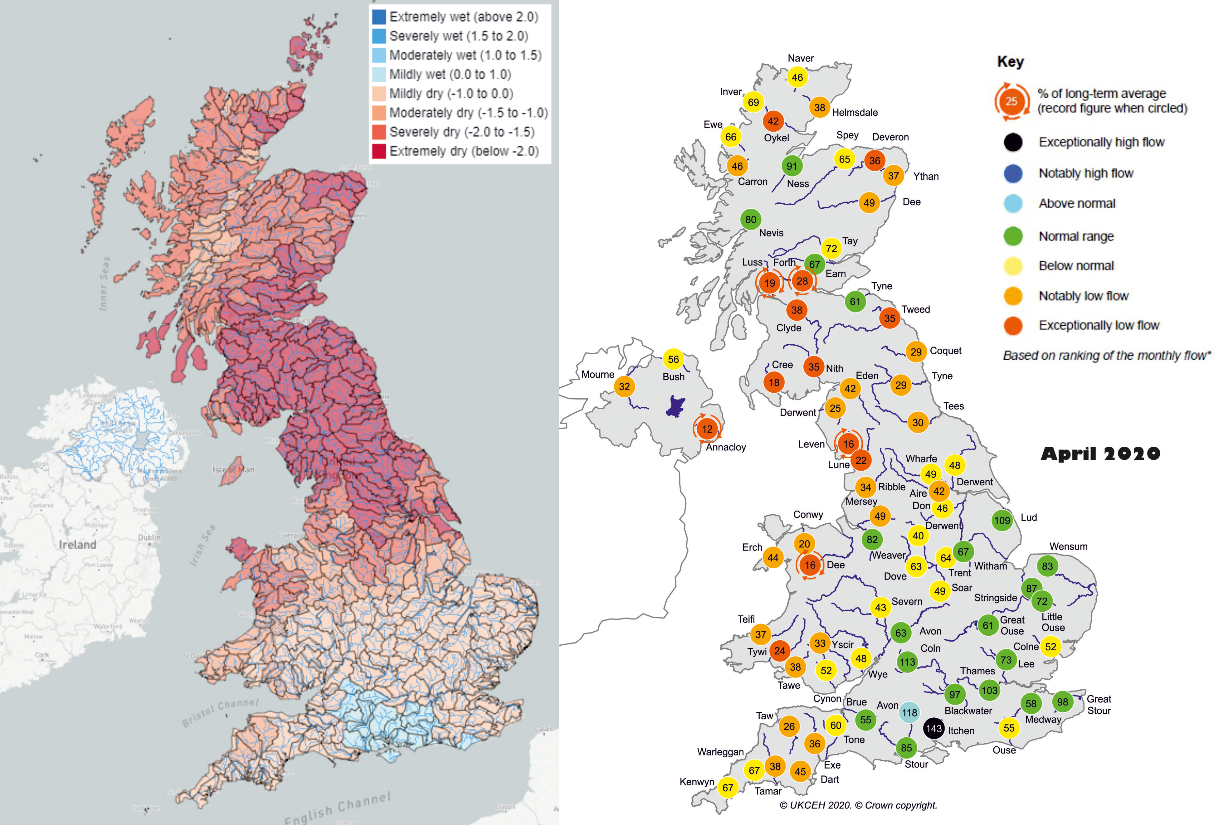 Charts showing Standardised Precipitation Index in April 2020 and April monthly mean river flows for the UK