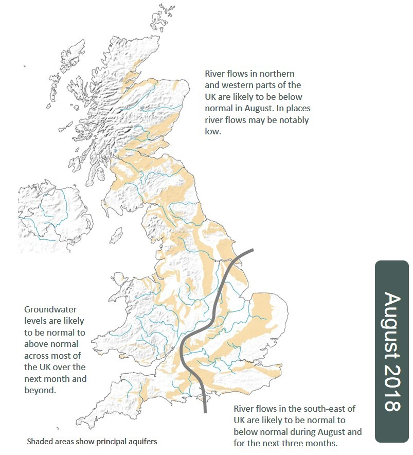 Summary map from the August 2018 UK Hydrological Outlook